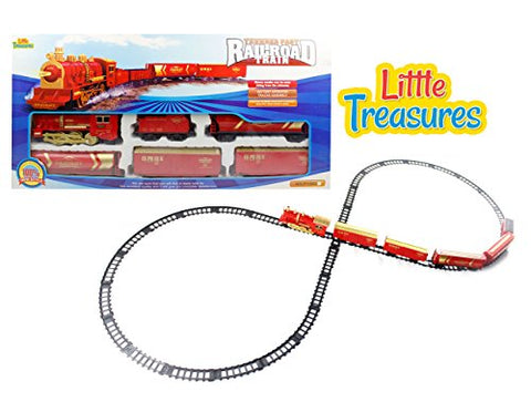 Little Treasures Classic Train Set with Tracks Toy this Locomotive Play Set is Fun for Children 3 Plus Good Gift for Boys and Girls