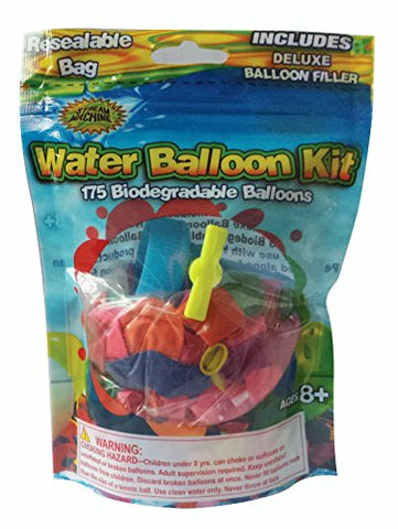 Water Sports 175 Water Balloon Kit, Assorted Colors, 6.75  x 4