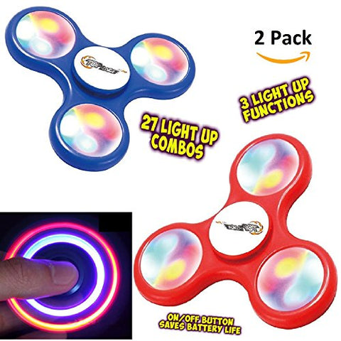Finger Spinner Toy with LED Lights 2 Pack, Fidget Spinner With Beautiful LED Lights Red and Blue Set of 2