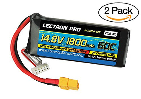 of Lectron Pro 14.8V 1800mAh 60C Lipo Batteries with XT60 Connectors for FPV Racers