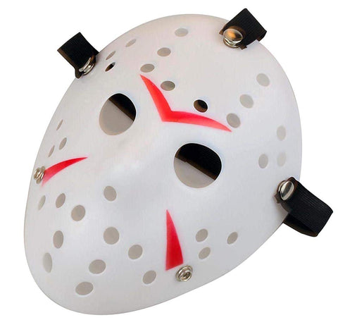 Gmasking Horror Halloween Costume Hockey Mask Party Cosplay Props (White-Red)
