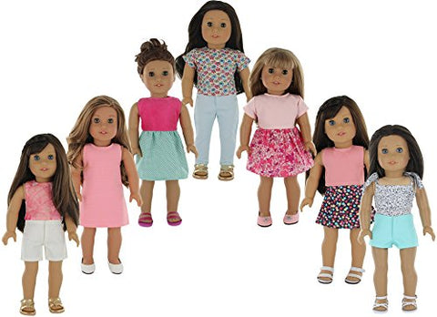 American Girl Doll Clothes Wardrobe Makeover- 7 Complete Outfits, Fits 18  Doll Clothes- by PZAS Toys