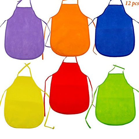 Adorox Assorted Children's Multicolored Aprons smock Art & Craft Painting Cooking Classroom set of 12