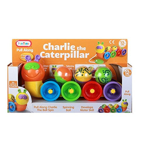 Tootsie Baby, Fun Time Pull Along Charlie the Caterpillar, 12 inches, Multicolor