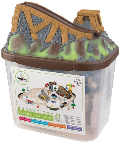 KidKraft Bucket Top Construction Train Set, 61-Piece