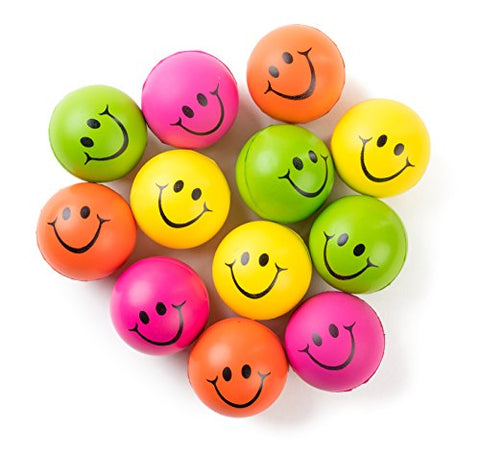 Be Happy! Neon Colored Smile Funny Face Stress Ball - Happy Smiley Face Stress Balls Bulk Relaxable 2.5  Stress Relief Smile Squeeze Balls Fun Toys Christmas Stocking Stuffer