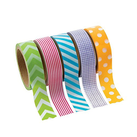 Primary Patterned Washi Tape Set (5 Rolls Per Unit) Each Roll Includes 16 Ft. Of Tape.