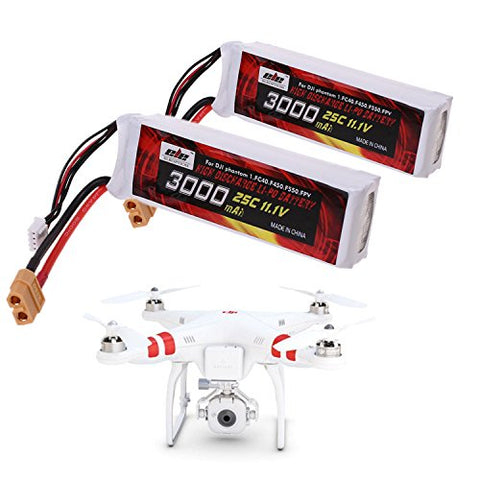 25C 3S 3000mAh 11.1V LiPo Battery (XT60 Plug Connector) for DJI Phantom 1 FC40 DJI Flame Wheel F450 F550 FPV Quadcopter and Other Toy RC Vehicles