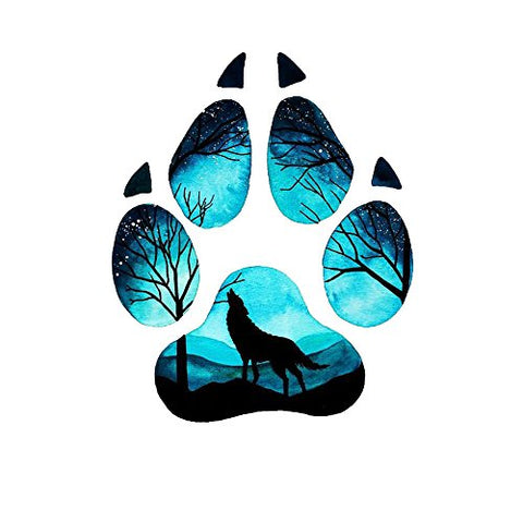 WYUEN 5 Sheets Wolf Footprint Body Art Temporary Tattoo Sticker For Men Women Fake Waterproof Women Temporary Tattoo New Designs 9.8X6cm FA-072
