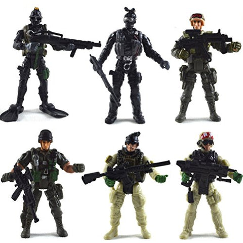 6 Pcs Action Figure Army Soldiers Toy with Weapon / Military Figures Playsets
