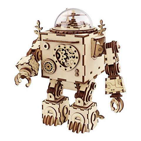 ROBOTIME 3D Puzzle Music Box Wooden Craft Kit Robot Machinarium Toy with Light Best Gifts for Women & Men