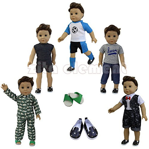 5 Sets Boy Doll Clothes with 2 Pairs of Shoes for 18 Inch American Girl Boy Doll Logan Doll Accessories - by ZITA ELEMENT