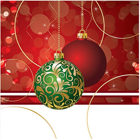 Creative Converting Elegant Ornaments Beverage Napkins, Red/Green