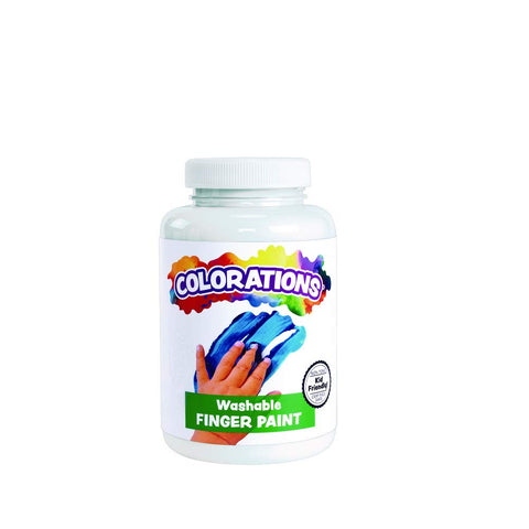 Colorations Washable Finger Paints, 16 Fl Oz, White, Non-Toxic, Creamy, Vibrant, Kids Paint, Craft, Hobby, Fun, Art Supplies, Young Kids, Finger Painting, Hand Painting