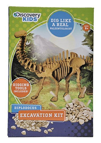 Discovery Kids Dinosaur Excavation Kit (DIPLODOCUS) Fossil Model Bones Skeleton - with Digging Tools