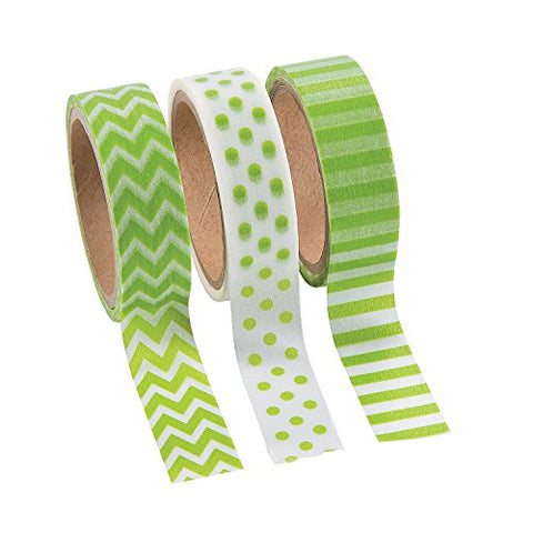 Fun Express Green Washi Tape Set (3 Rolls per Unit), Chevron, Polka Dots & Stripes, 16'