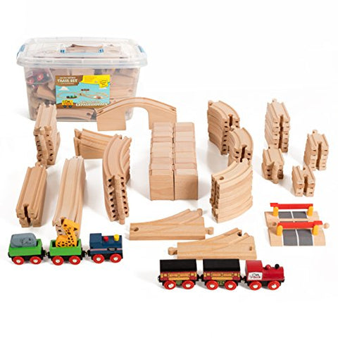 100 Piece Multi Level Wooden Train Expansion Pack, Comes In A Clear Container, Compatible With All Major Brands