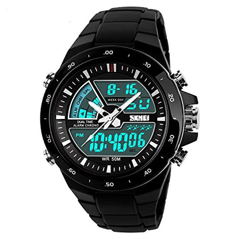 J.Market Sports Watch Men's Multi-function Digital LED watch Electronic Watch 50 Meters Waterproof Luminous Watch (black)
