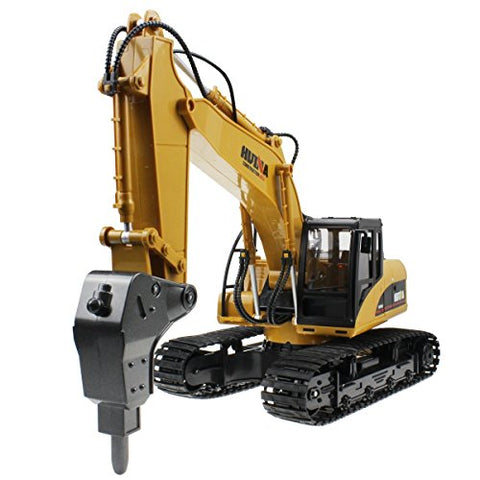 2.4Ghz Radio Control 16 Channel Alloy Hammer Excavator Rechargeable Sound and Light Demo Remote Control Drilling Truck