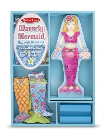 Waverly Mermaid - Magnetic Dress Up Wooden Doll & Stand + FREE Melissa & Doug Scratch Art Mini-Pad Bundle [86011]