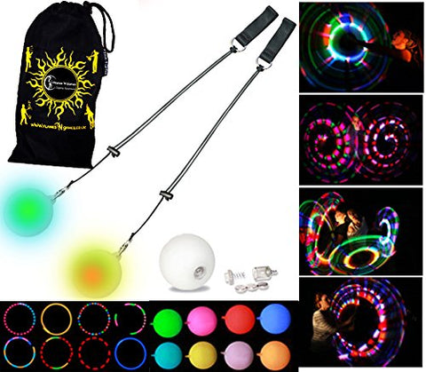LED Poi - Glow Poi - Multi Function LED Glow Poi by Flames N Games (20 Settings) +Travel Bag!