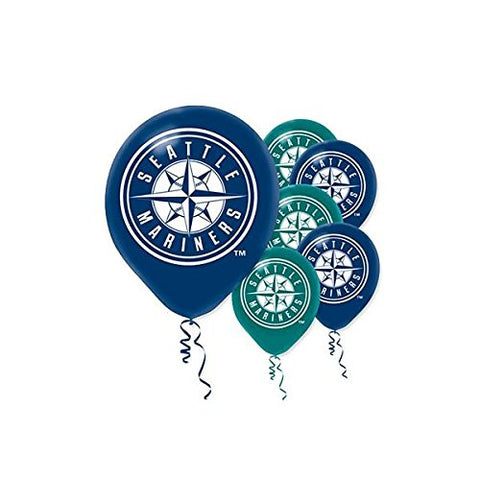 Sports and Tailgating MLB Party Seattle Mariners Printed Latex Balloons Decoration, 6 Pieces, Latex, Blue and Green, 12  by Amscan