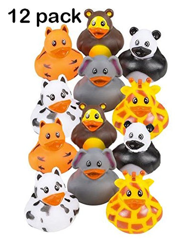 Zoo Animal Rubber Ducks 2 Inches Assorted Safari Animal Duckies - For Kids, Party Favors, Gift, Birthdays, Baby Showers, Bathtub Toys, Bath Time, Party Favors, And More  By Kidsco