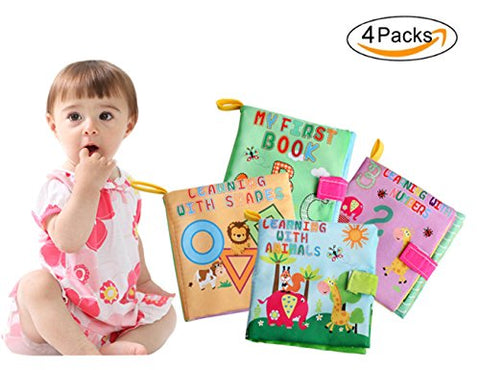 Naovio 4PCS Baby Soft Cloth Book Set My First Early Learning & Development Toy - ABC, 123, Shapes & Animals