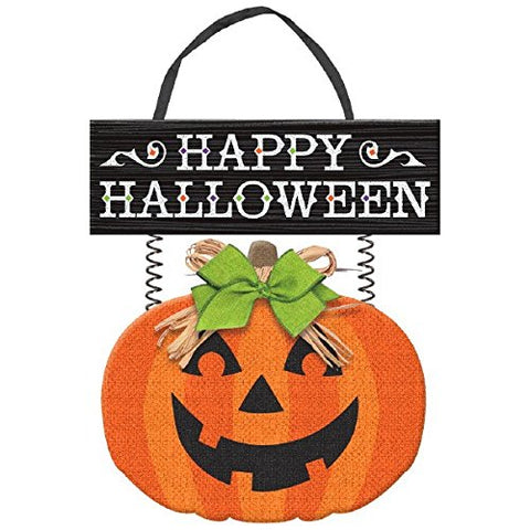 Deluxe Friendly Jack-O-Lantern Halloween Trick or Treat Hanging Decoration, Paper, 14 1/4  x 12 1/3 .