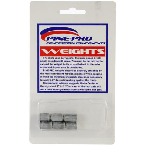 Pine Car Derby Cylinder Weights, 1.5-Ounce,