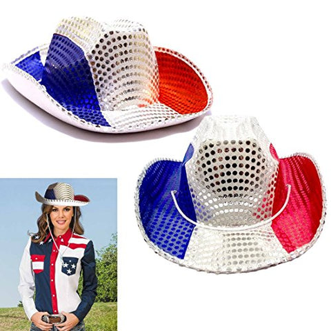 American Cowboy Hats - Red White and Blue Patriotic Cowboy Hat - Party Favor Hats Set of 2 - Sequin Covered American Colors Themed Raving Party Hats