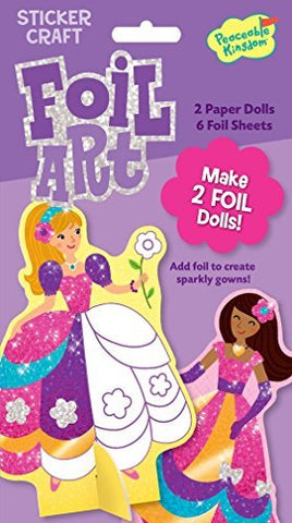 Peaceable Kingdom Sticker Crafts Fancy Gown Stand-Up Dolls Foil Art Kit for Kids