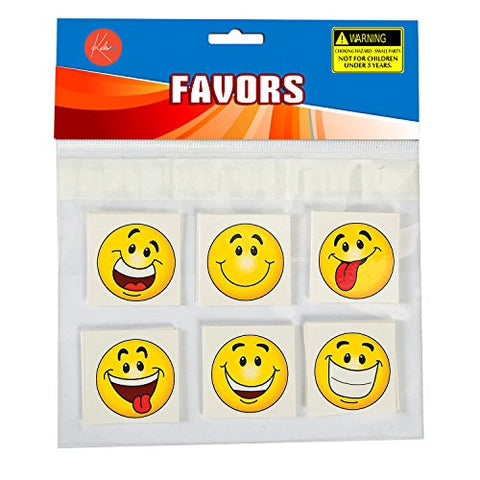 6656b2405 Emoji Tattoos - - 2 Inches Assorted Goofy Smiley Face Cool Emoticon Face  Tattoo - For