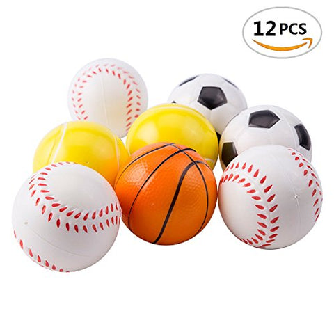Mseeur 12 Soft Foam Sports Balls For Kids 2.5  Perfect for Small Hands Includes 3 Soccer Ball, 3 Basketball, 3 Baseball, and 3 Tennis Ball