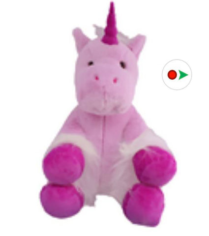 "Recordable Stuffed Unicorn With 10 Second Digital Recorder (8"", Violet)"