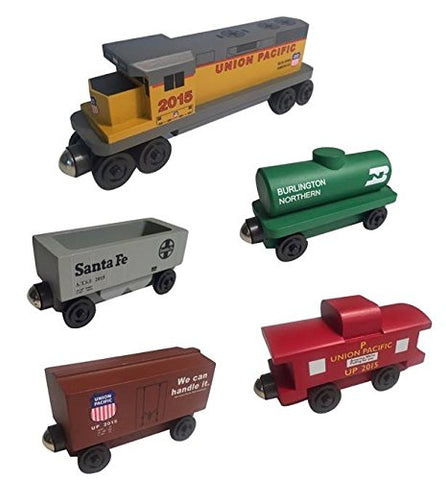 Union Pacific RAILWAY GP-38 Diesel 5pc. Set - Wooden Toy Train by Whittle Shortline Railroad - Manufacturer