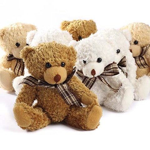 Adorable Fuzzy Furry Jointed Teddy Bears with Plaid Bow- Set of 4