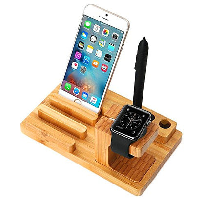 Tuop@ Apple Watch Series 2 1 Stand, Multi Nightstand Mode Dock Bamboo Wood Charging Station Charger Cradle For Apple Watch Iwatch 2/1 Iphone 5 5S 6 Plus 6S Se 7 7 Plus Ipad Mini 2016 Released