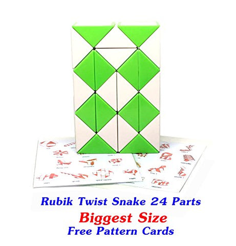 Rubik Snake Twist Puzzle 24 Wedges (Parts) Biggest Size Ever 1.7 inch for each Parts with FREE with Pattern Cards