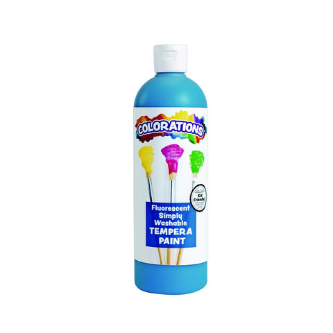 Colorations Washable Tempera Paint, 16 Fl Oz, Fluorescent Blue, Neon, Non Toxic, Vibrant, Bold, Bright, Kids Paint, Craft, Hobby, Fun, Art Supplies