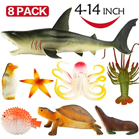 Ocean Sea Animal, 4-14 Inch Large Vinyl Plastic Animal Toy Set, Funcorn Toys Realistic Under The Sea Life Figure Bath Toy for Child Toddler Educational Party Favors ,Octopus Shark Turtle