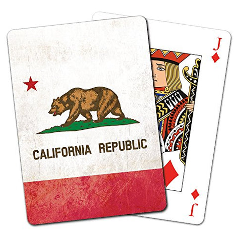 Tree-Free Greetings Deck of Playing Cards, 2.5 x 0.8 x 3.5 Inches, California Republic Flag  (CD15940)