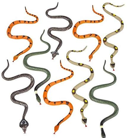 Novelty  12 Assorted 6 Inch Plastic Snakes