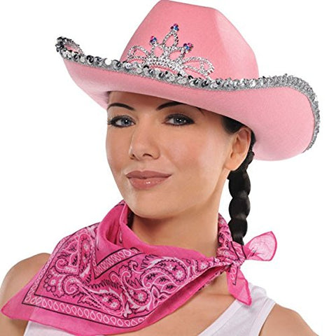 High Riding Costume Party Cowboy Bandana, Pink, Polyester, 20 , 1-Piece