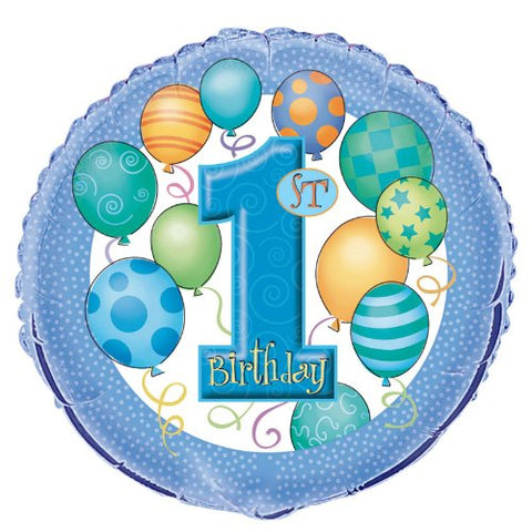 1st Birthday Blue Mylar Balloon 18
