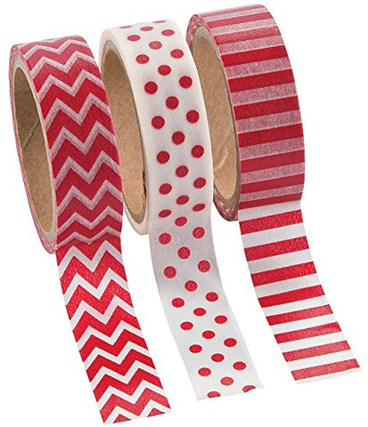 Red Washi Tape Set - 16 Ft. Of Tape Per Roll (3 Rolls Per Unit)