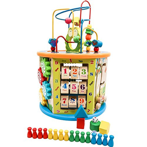 TOAOB Wooden Learning Bead Maze Cube Activity Center Six Sided 8 games for Kids Gift