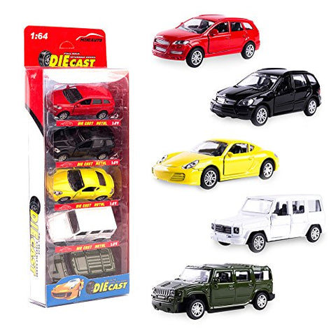 KIDAMI Die Cast Metal Toy Cars Set of 5, Openable Doors Pull Back Car Gift Pack for Kids