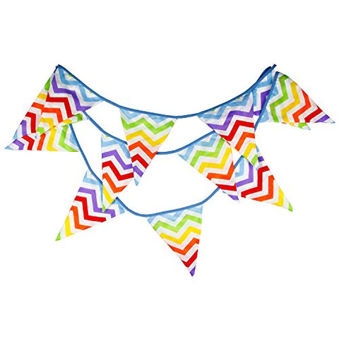 INFEI Rainbow Wave Fabric Big Flag Buntings Banner Garland Children Birthday Party Decoration