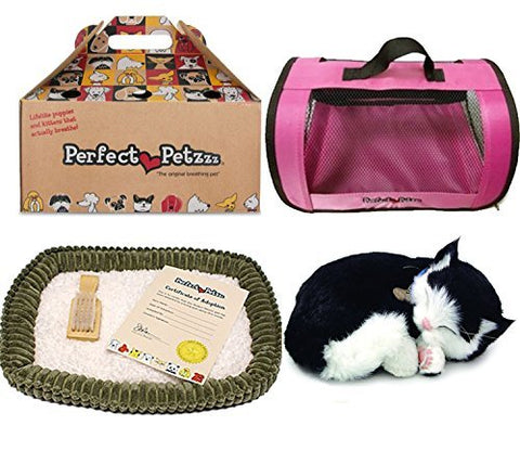 New Perfect Petzzz Black and White Shorthair Kitten Plush with Pink Tote For Plush Breathing Pet